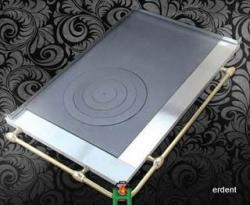 Plaque de cuisson en fonte avec cadre porte poele foyer for Plaque induction avec cadre inox